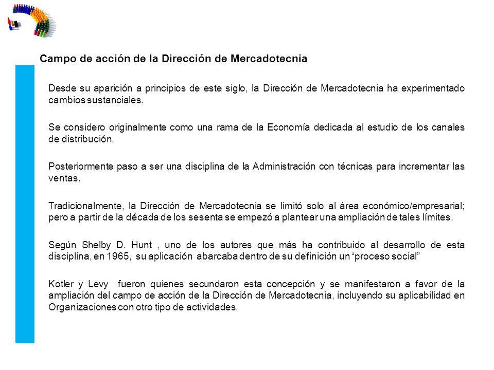 Campo de acción de la Dirección de Mercadotecnia Desde su aparición a principios de este siglo, la Dirección de Mercadotecnia ha experimentado cambios