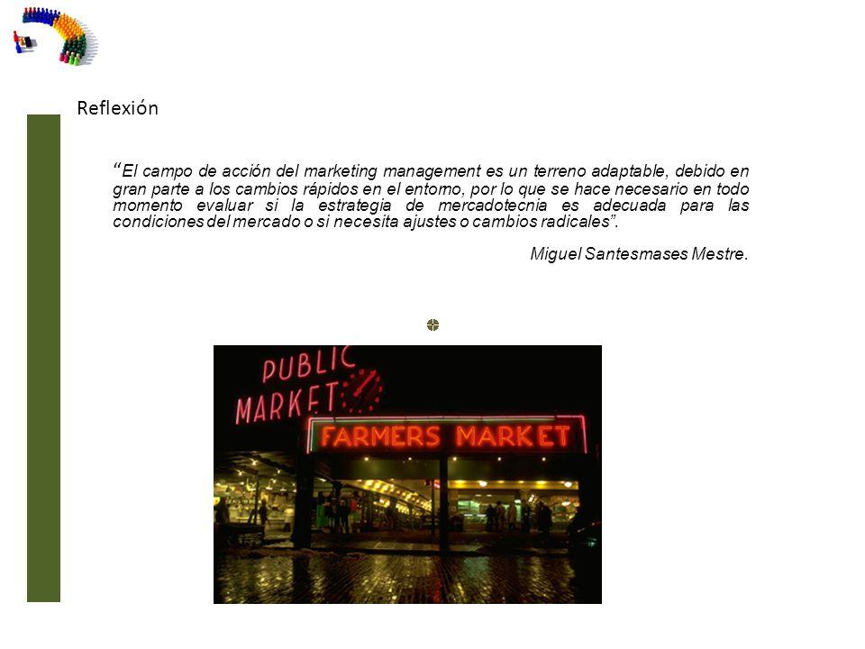 Reflexión El campo de acción del marketing management es un terreno adaptable, debido en gran parte a los cambios rápidos en el entorno, por lo que se