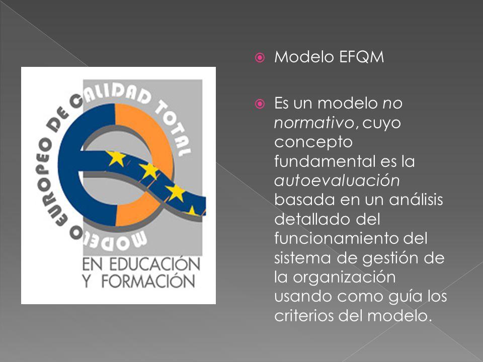 Modelo EFQM Es un modelo no normativo, cuyo concepto fundamental es la autoevaluación basada en un análisis detallado del funcionamiento del sistema d