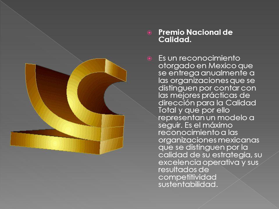 Premio Nacional de Calidad. Es un reconocimiento otorgado en Mexico que se entrega anualmente a las organizaciones que se distinguen por contar con la