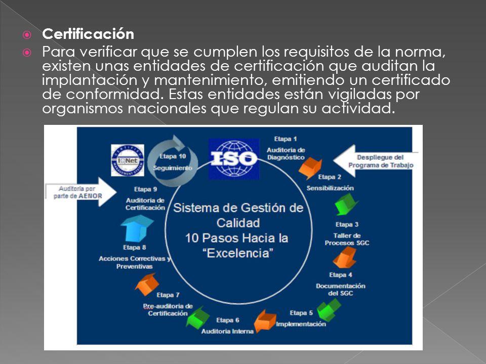 Certificación Para verificar que se cumplen los requisitos de la norma, existen unas entidades de certificación que auditan la implantación y mantenim