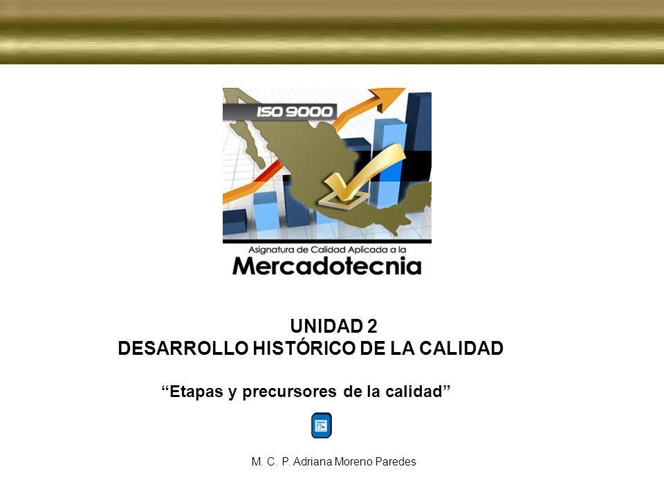 UNIDAD 2 DESARROLLO HISTÓRICO DE LA CALIDAD Etapas y precursores de la calidad M. C. P. Adriana Moreno Paredes
