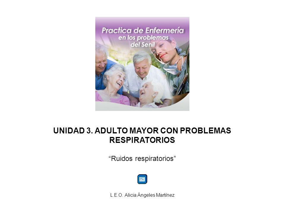 UNIDAD 3.ADULTO MAYOR CON PROBLEMAS RESPIRATORIOS Ruidos respiratorios L.E.O.