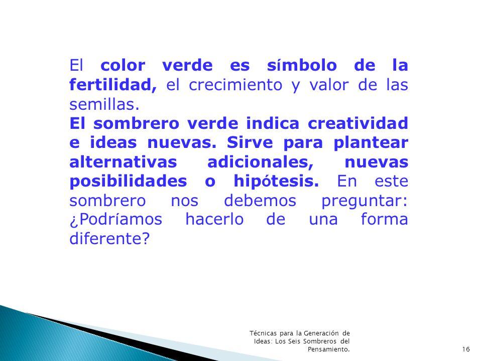 Técnicas para la Generación de Ideas: Los Seis Sombreros del Pensamiento.16 El color verde es s í mbolo de la fertilidad, el crecimiento y valor de la