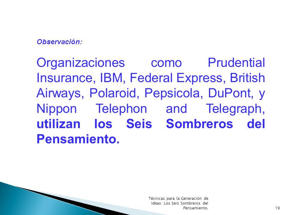 Técnicas para la Generación de Ideas: Los Seis Sombreros del Pensamiento.19 Observación: Organizaciones como Prudential Insurance, IBM, Federal Expres