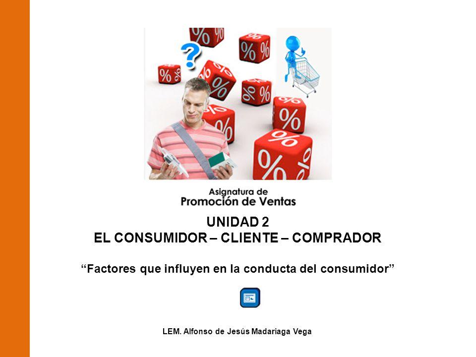 UNIDAD 2 EL CONSUMIDOR – CLIENTE – COMPRADOR Factores que influyen en la conducta del consumidor LEM.