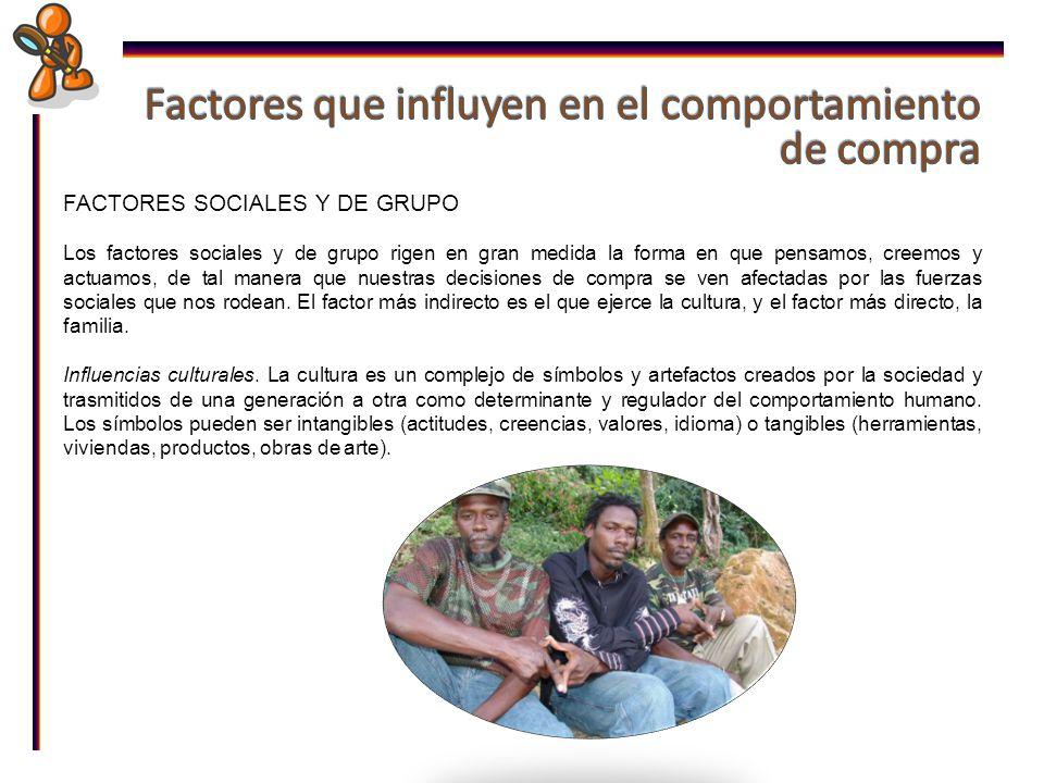 FACTORES SOCIALES Y DE GRUPO Los factores sociales y de grupo rigen en gran medida la forma en que pensamos, creemos y actuamos, de tal manera que nuestras decisiones de compra se ven afectadas por las fuerzas sociales que nos rodean.