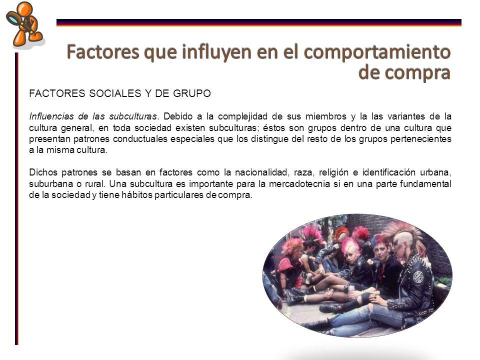 FACTORES SOCIALES Y DE GRUPO Influencias de las subculturas.