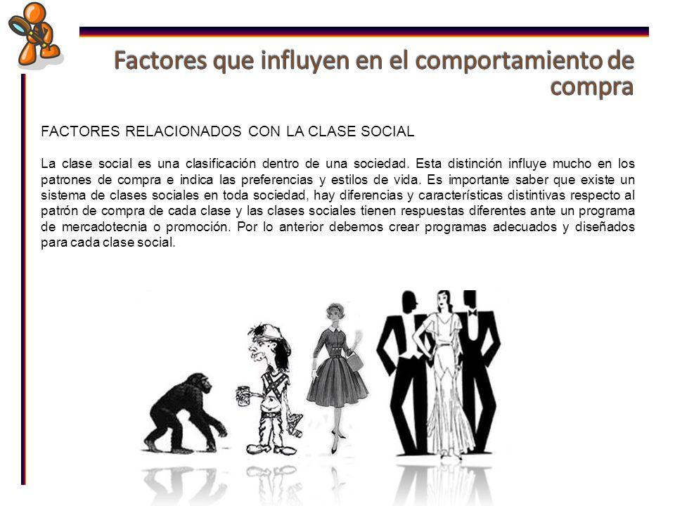 FACTORES RELACIONADOS CON LA CLASE SOCIAL La clase social es una clasificación dentro de una sociedad.