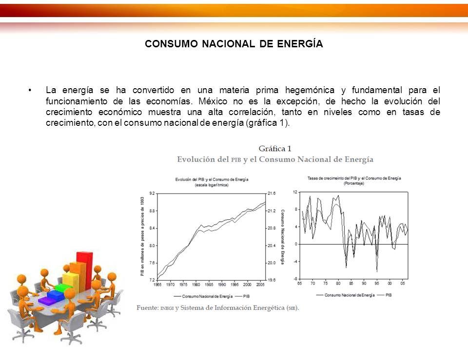 CONSUMO NACIONAL DE ENERGÍA La energía se ha convertido en una materia prima hegemónica y fundamental para el funcionamiento de las economías.