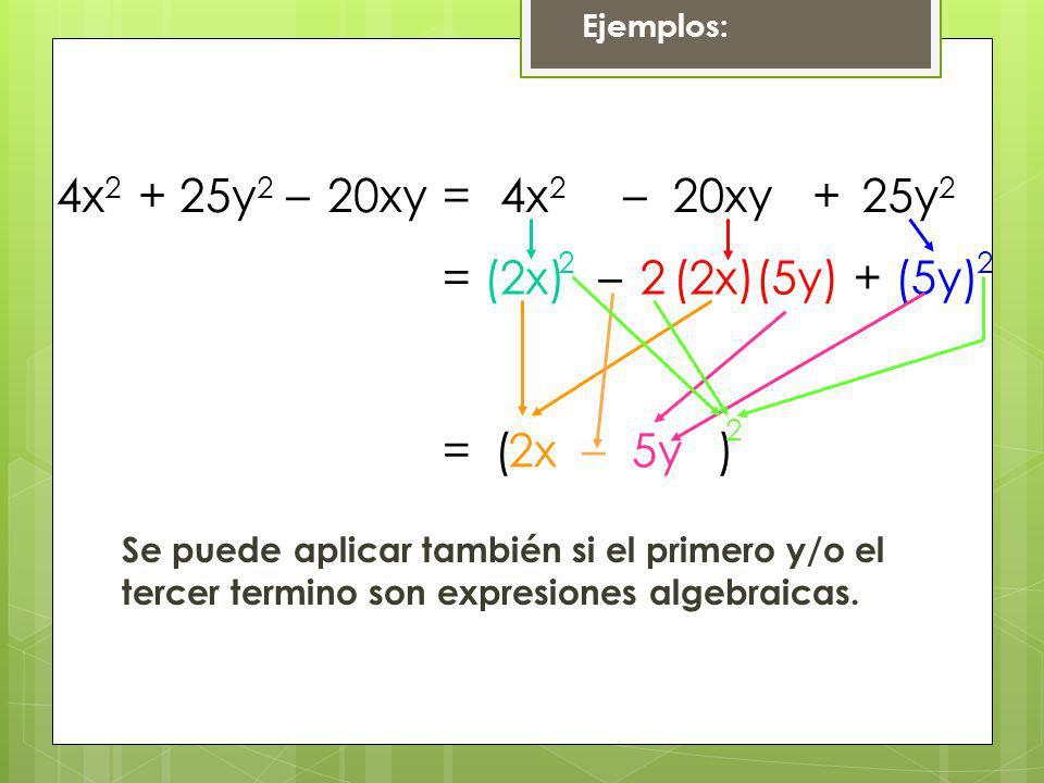 Ejemplos: 4x 2 +25y 2 –20xy=4x 2 +25y 2 –20xy =(2x)(5y)(2x)(5y)2–+ =2x 22 –5y ( ) 2 Se puede aplicar también si el primero y/o el tercer termino son e