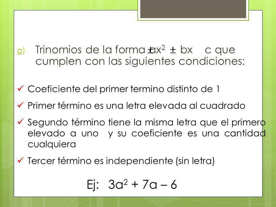 g) Trinomios de la forma ax 2 bx c que cumplen con las siguientes condiciones: Coeficiente del primer termino distinto de 1 Primer término es una letr