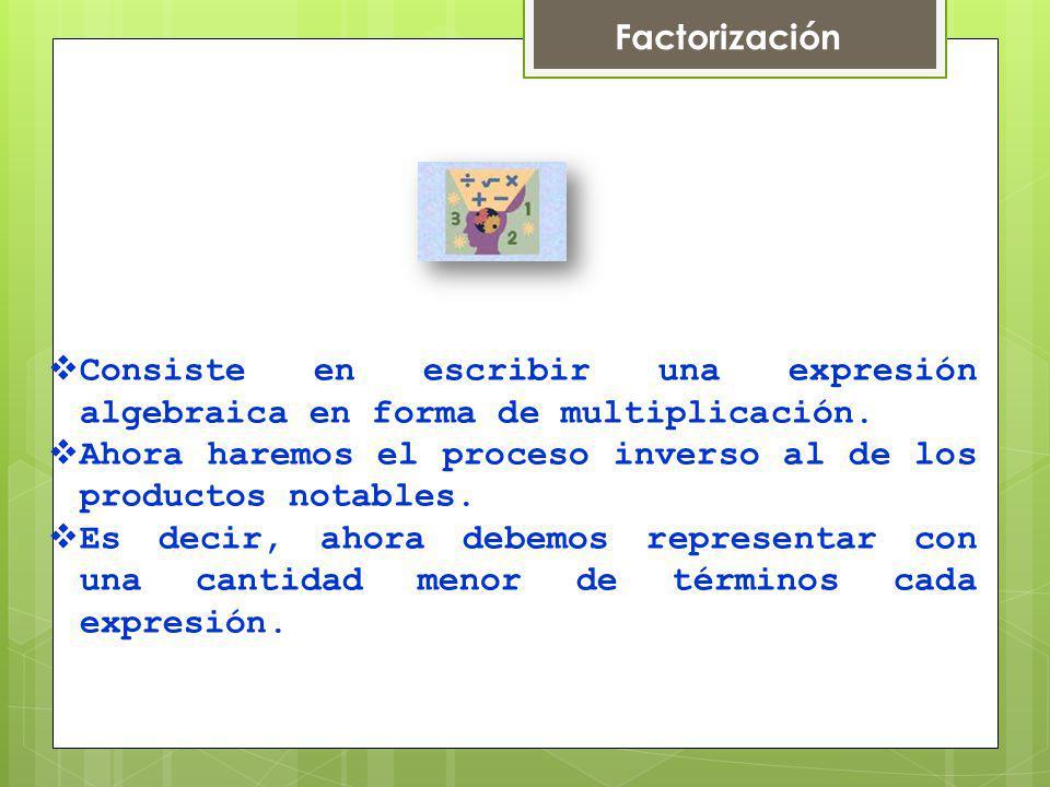 Factores de una expresión Son las expresiones algebraicas que multiplicadas entre si dan como producto a la primera expresión.