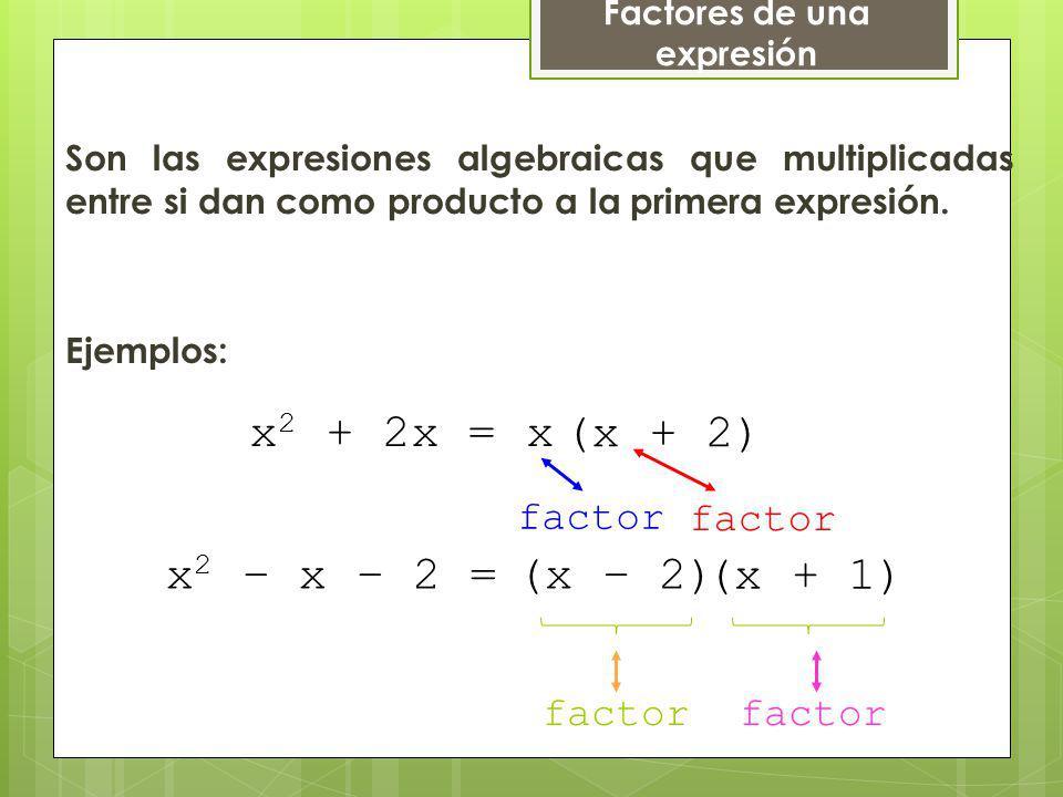 Factores de una expresión Son las expresiones algebraicas que multiplicadas entre si dan como producto a la primera expresión. x (x + 2) factor Ejempl