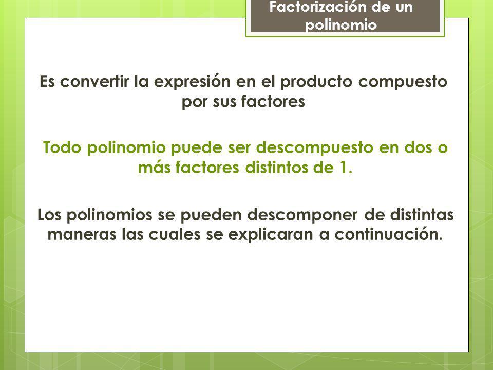 a) Cuando todos los términos tienen un factor común Ejemplos: 10a + 30ax 2 =10 1 a + 10 3 a x x 10a( )1 En ambos términos +3x2x2 = Factorización de un polinomio