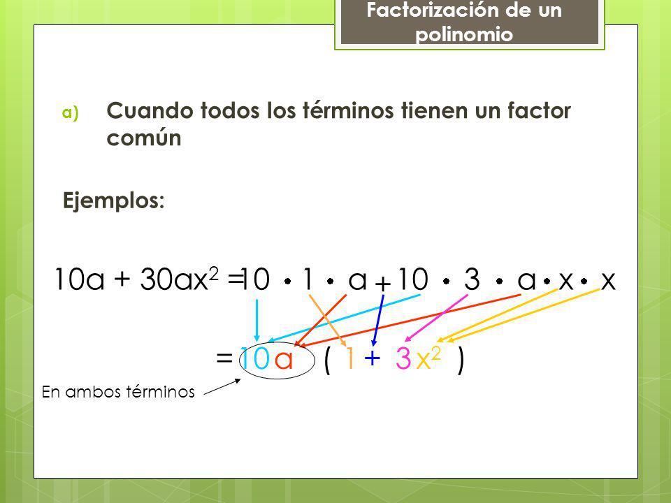 a) Cuando todos los términos tienen un factor común Ejemplos: 10a + 30ax 2 =10 1 a + 10 3 a x x 10a( )1 En ambos términos +3x2x2 = Factorización de un