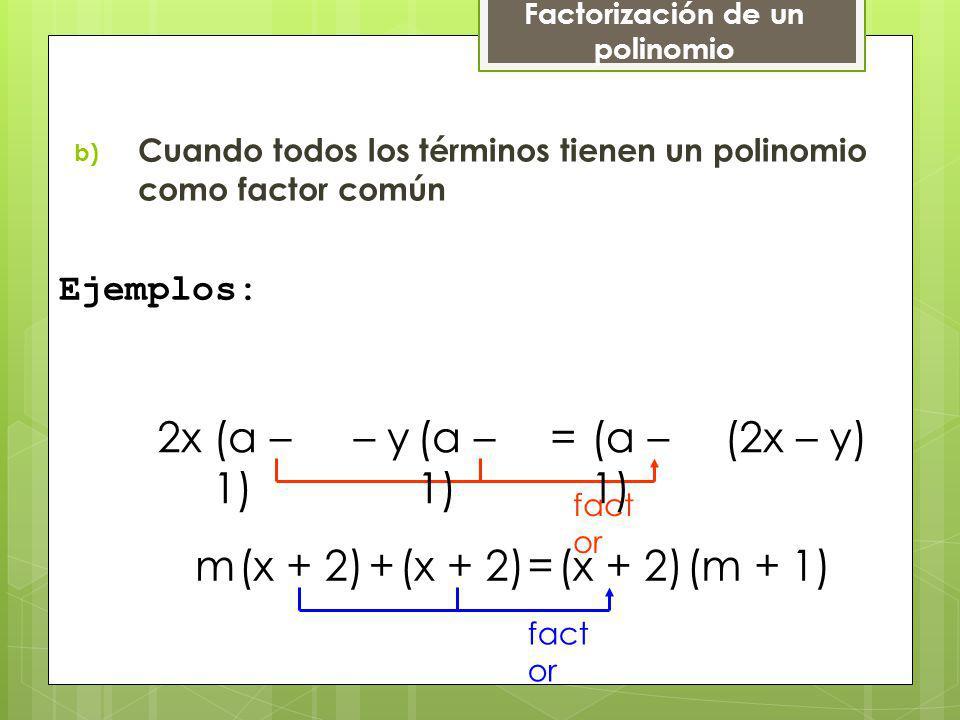 b) Cuando todos los términos tienen un polinomio como factor común Ejemplos: fact or (a – 1) (x + 2) fact or 2x– y=(2x – y) m+=(m + 1) Factorización d