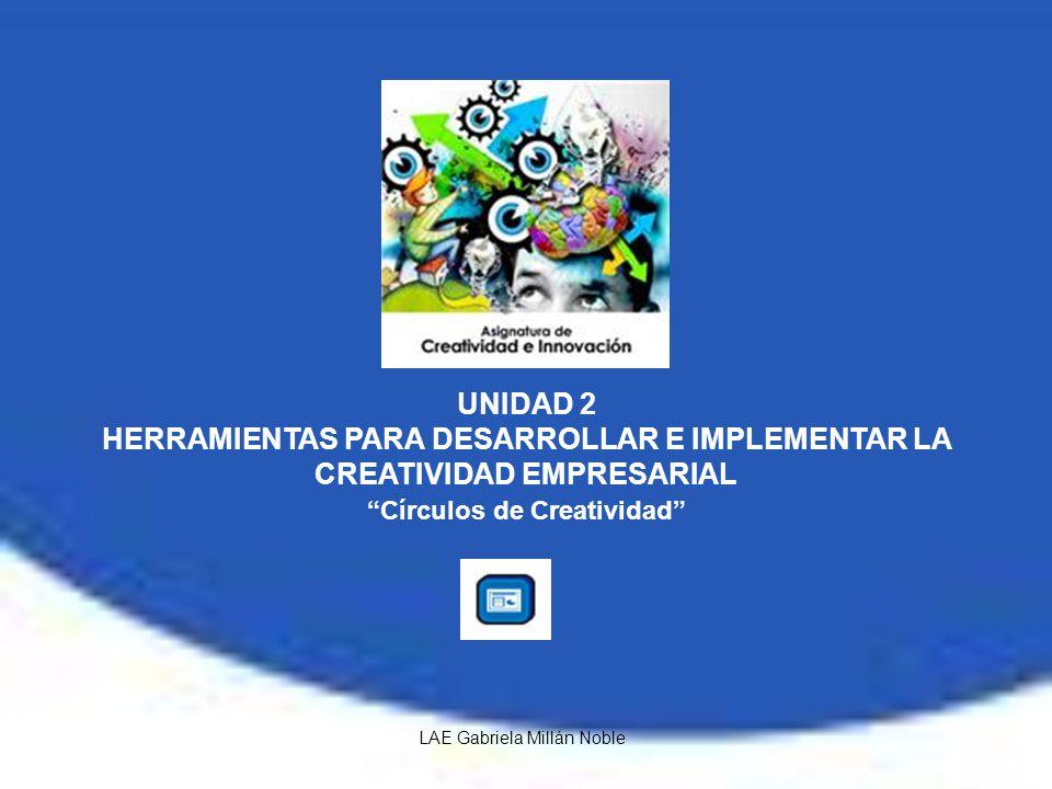 UNIDAD 2 HERRAMIENTAS PARA DESARROLLAR E IMPLEMENTAR LA CREATIVIDAD EMPRESARIAL Círculos de Creatividad LAE Gabriela Millán Noble