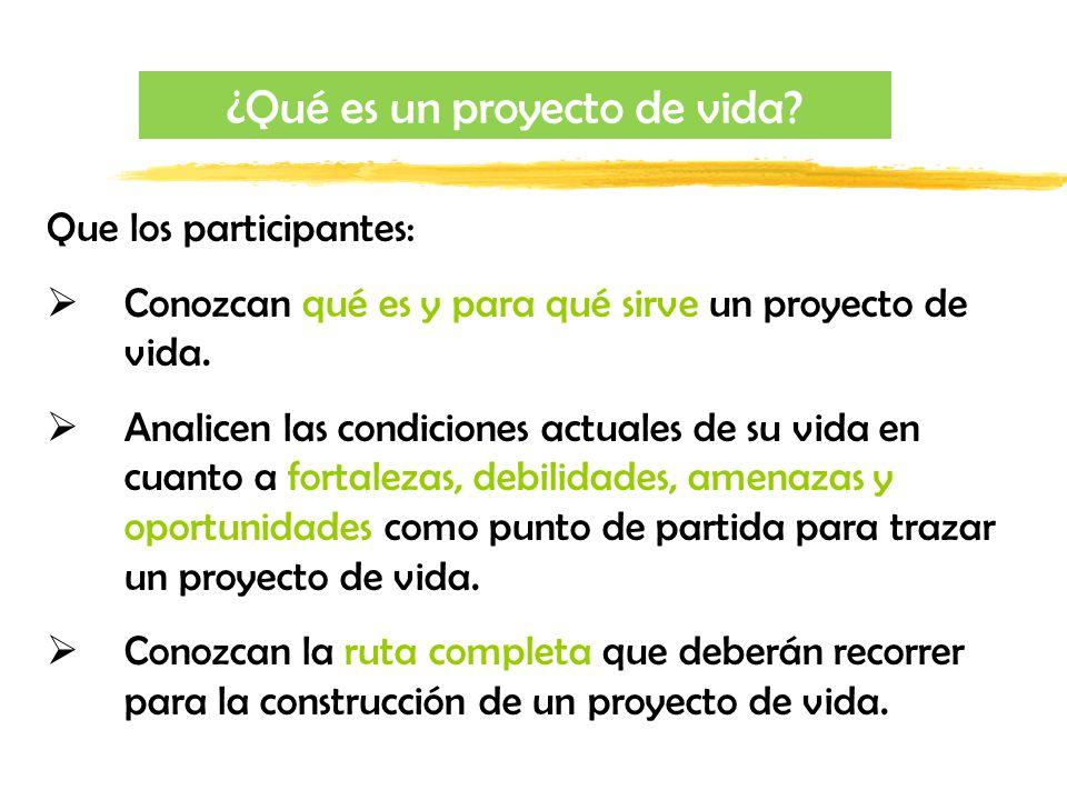 Que los participantes: Conozcan qué es y para qué sirve un proyecto de vida. Analicen las condiciones actuales de su vida en cuanto a fortalezas, debi