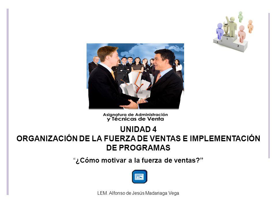 UNIDAD 4 ORGANIZACIÓN DE LA FUERZA DE VENTAS E IMPLEMENTACIÓN DE PROGRAMAS ¿Cómo motivar a la fuerza de ventas.