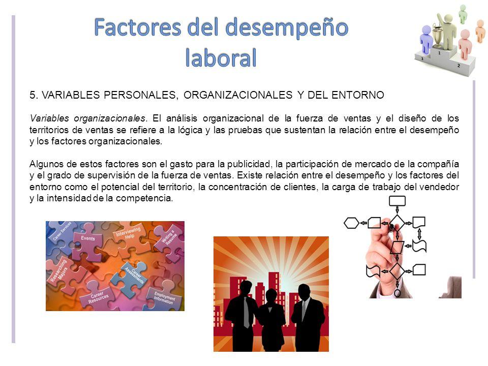 5.VARIABLES PERSONALES, ORGANIZACIONALES Y DEL ENTORNO Variables organizacionales.