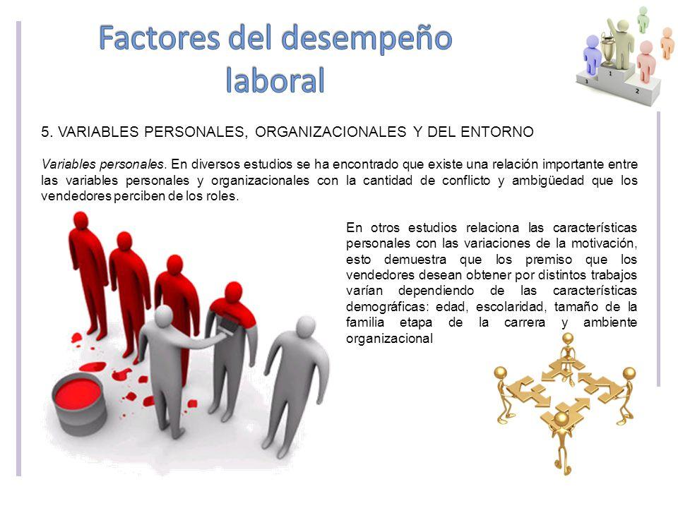 5.VARIABLES PERSONALES, ORGANIZACIONALES Y DEL ENTORNO Variables personales.