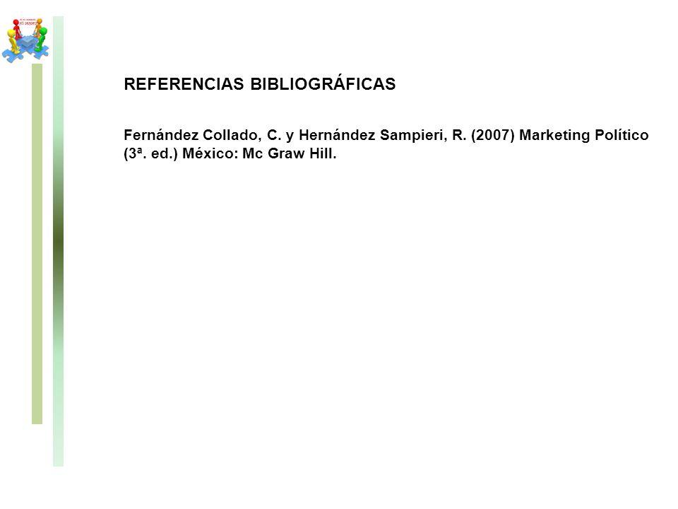 REFERENCIAS BIBLIOGRÁFICAS Fernández Collado, C. y Hernández Sampieri, R. (2007) Marketing Político (3ª. ed.) México: Mc Graw Hill.