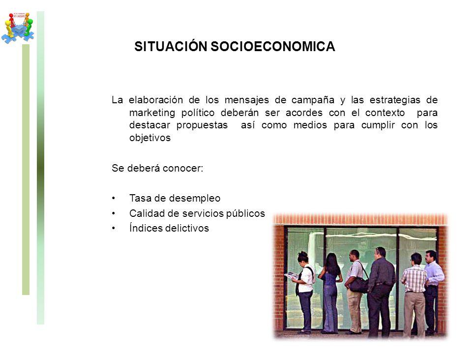 SITUACIÓN SOCIOECONOMICA La elaboración de los mensajes de campaña y las estrategias de marketing político deberán ser acordes con el contexto para de