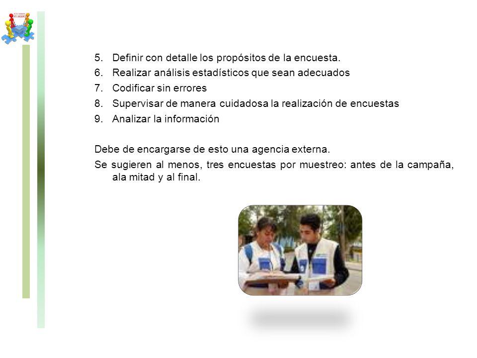 5.Definir con detalle los propósitos de la encuesta. 6.Realizar análisis estadísticos que sean adecuados 7.Codificar sin errores 8.Supervisar de maner