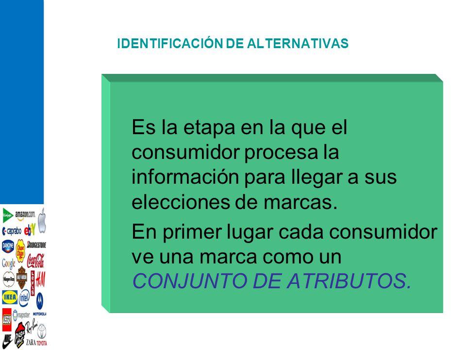 IDENTIFICACIÓN DE ALTERNATIVAS Es la etapa en la que el consumidor procesa la información para llegar a sus elecciones de marcas. En primer lugar cada