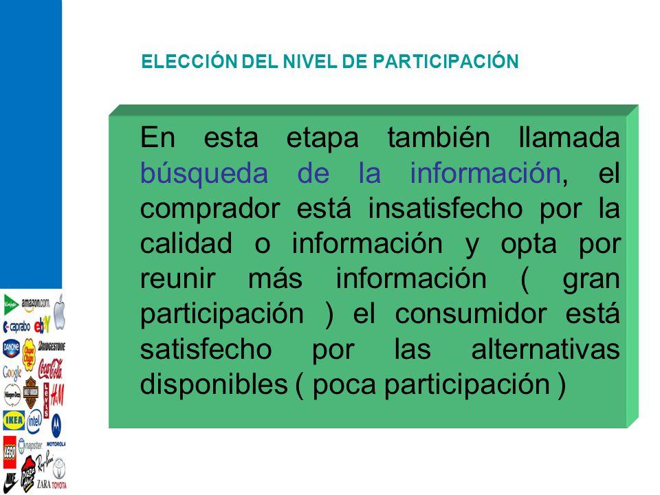 ELECCIÓN DEL NIVEL DE PARTICIPACIÓN En esta etapa también llamada búsqueda de la información, el comprador está insatisfecho por la calidad o informac
