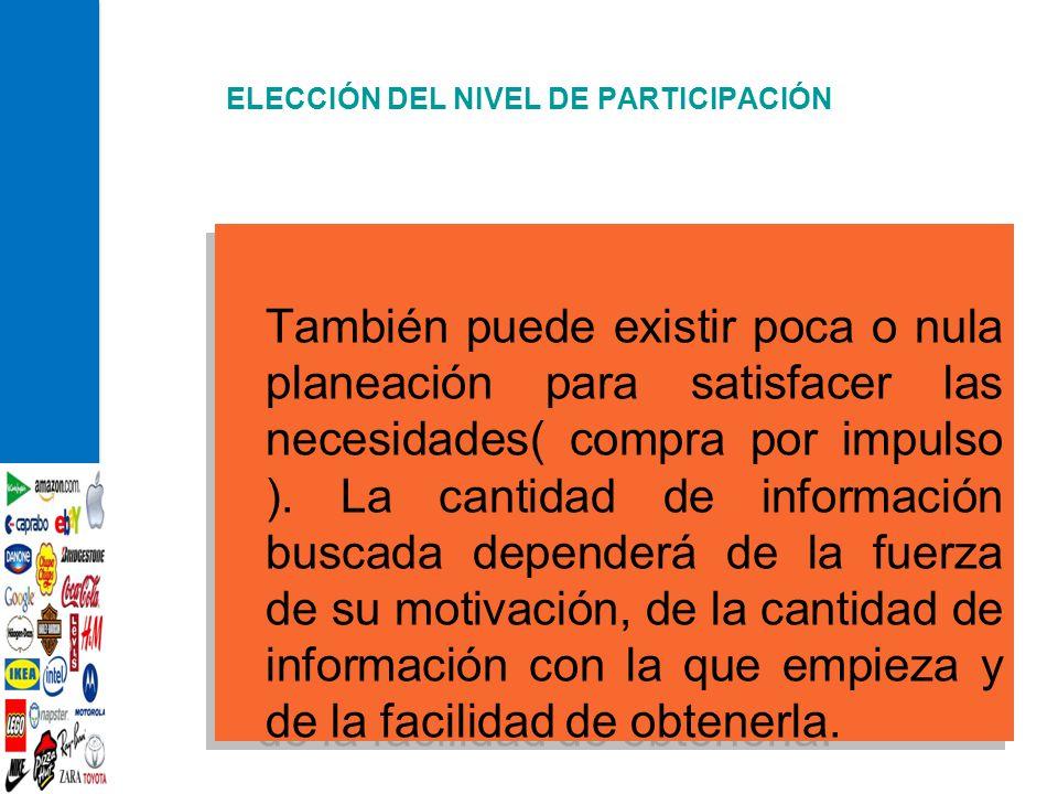 ELECCIÓN DEL NIVEL DE PARTICIPACIÓN También puede existir poca o nula planeación para satisfacer las necesidades( compra por impulso ). La cantidad de