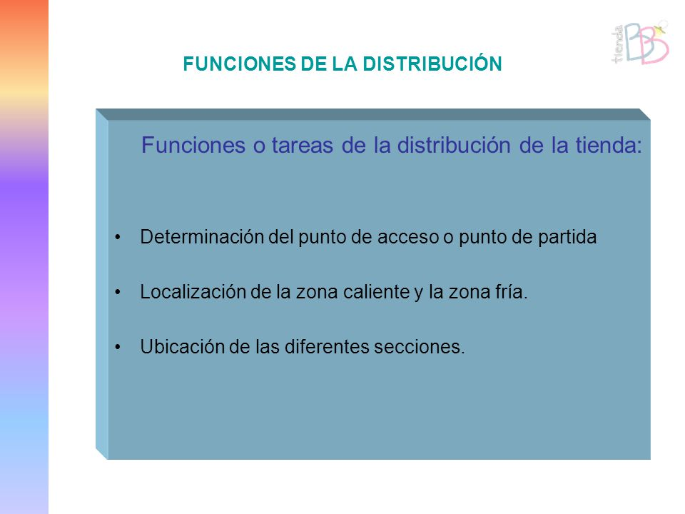 FUNCIONES DE LA DISTRIBUCIÓN Funciones o tareas de la distribución de la tienda: Determinación del punto de acceso o punto de partida Localización de