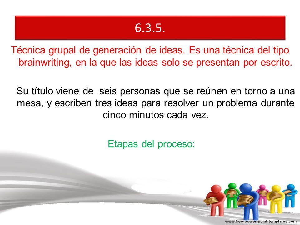Técnica grupal de generación de ideas. Es una técnica del tipo brainwriting, en la que las ideas solo se presentan por escrito. Su título viene de sei