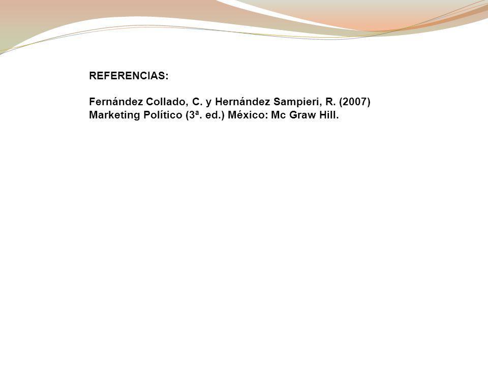 REFERENCIAS: Fernández Collado, C.y Hernández Sampieri, R.