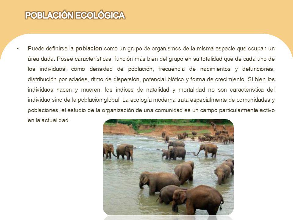 Puede definirse la población como un grupo de organismos de la misma especie que ocupan un área dada. Posee características, función más bien del grup
