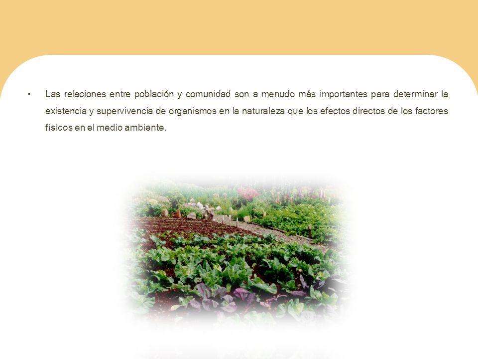 Las relaciones entre población y comunidad son a menudo más importantes para determinar la existencia y supervivencia de organismos en la naturaleza q