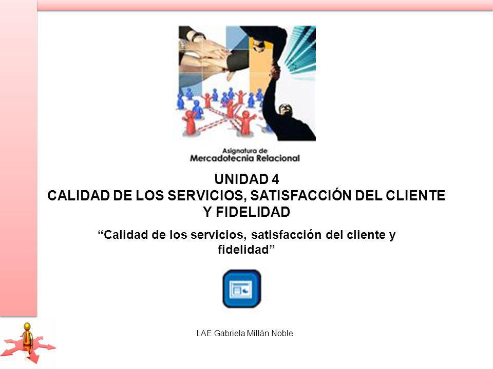 UNIDAD 4 CALIDAD DE LOS SERVICIOS, SATISFACCIÓN DEL CLIENTE Y FIDELIDAD Calidad de los servicios, satisfacción del cliente y fidelidad LAE Gabriela Millán Noble