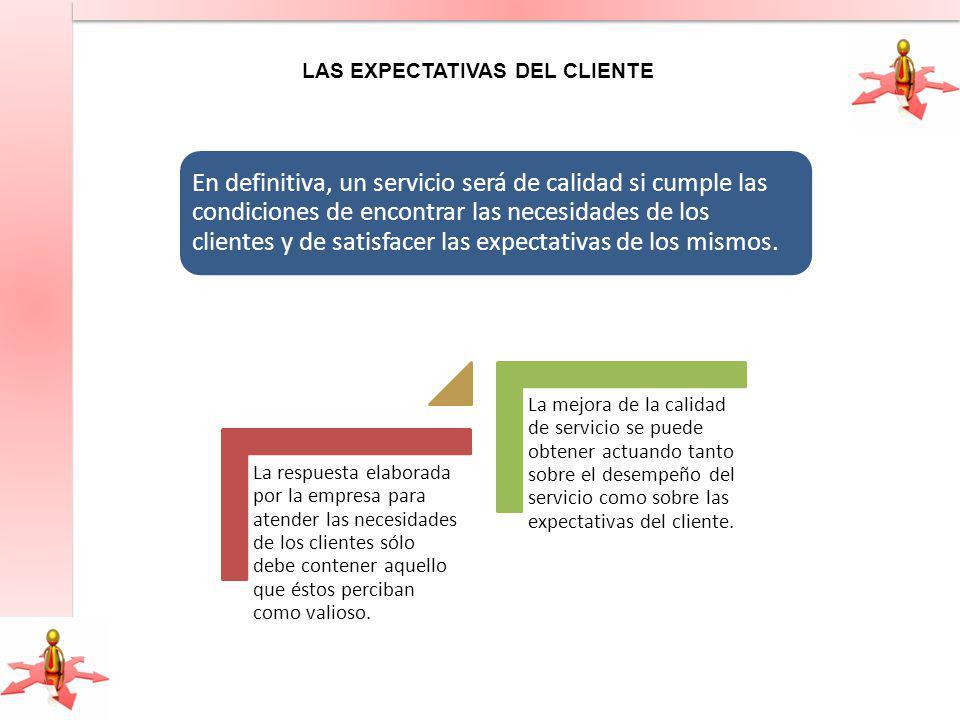 En definitiva, un servicio será de calidad si cumple las condiciones de encontrar las necesidades de los clientes y de satisfacer las expectativas de los mismos.