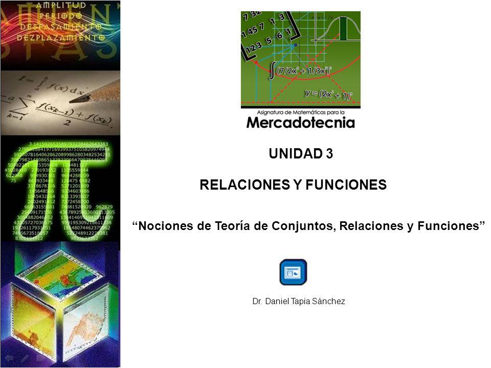 UNIDAD 3 RELACIONES Y FUNCIONES Nociones de Teoría de Conjuntos, Relaciones y Funciones Dr. Daniel Tapia Sánchez