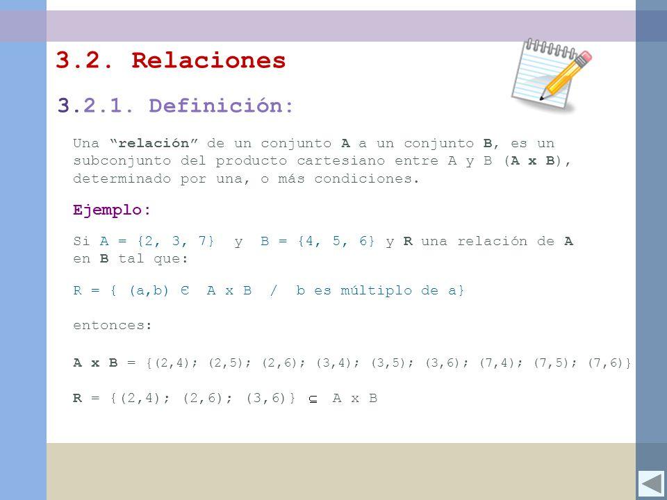 3.2. Relaciones Una relación de un conjunto A a un conjunto B, es un subconjunto del producto cartesiano entre A y B (A x B), determinado por una, o m