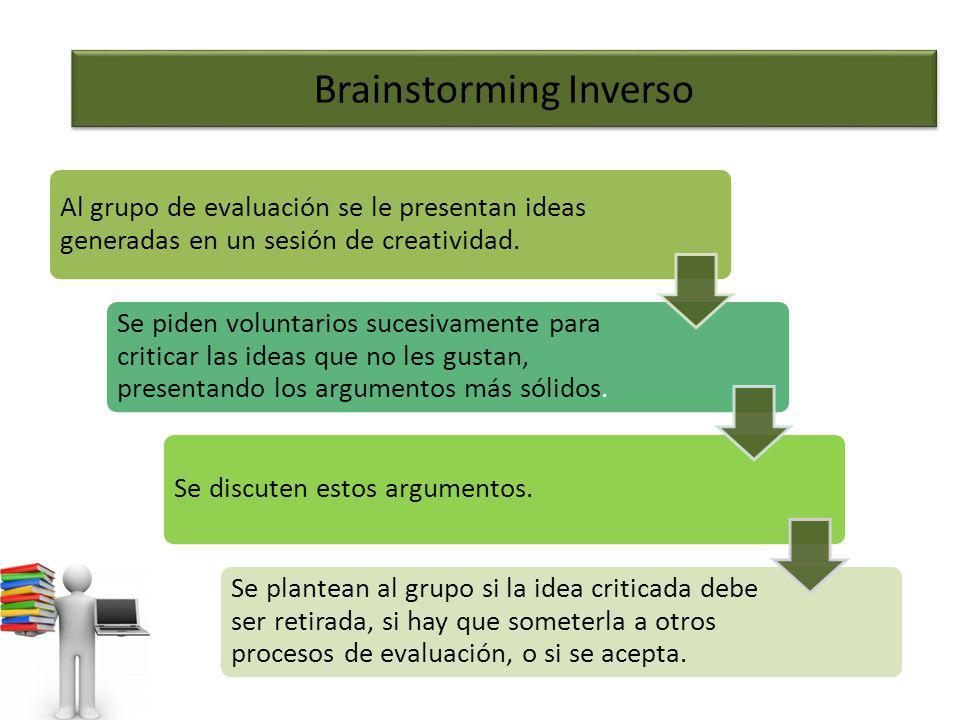 Brainstorming Inverso Al grupo de evaluación se le presentan ideas generadas en un sesión de creatividad. Se piden voluntarios sucesivamente para crit