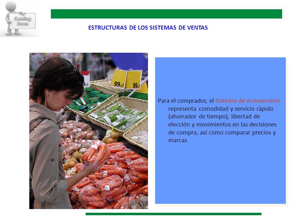 ESTRUCTURAS DE LOS SISTEMAS DE VENTAS Para el comprador, el Sistema de Autoservicio representa comodidad y servicio rápido (ahorrador de tiempo), libe
