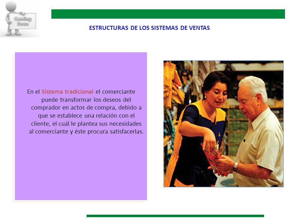 ESTRUCTURAS DE LOS SISTEMAS DE VENTAS En el Sistema tradicional el comerciante puede transformar los deseos del comprador en actos de compra, debido a