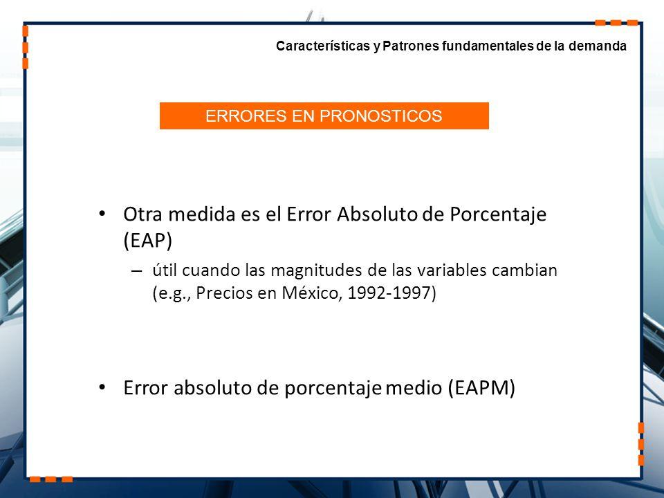 Otra medida es el Error Absoluto de Porcentaje (EAP) – útil cuando las magnitudes de las variables cambian (e.g., Precios en México, 1992-1997) Error