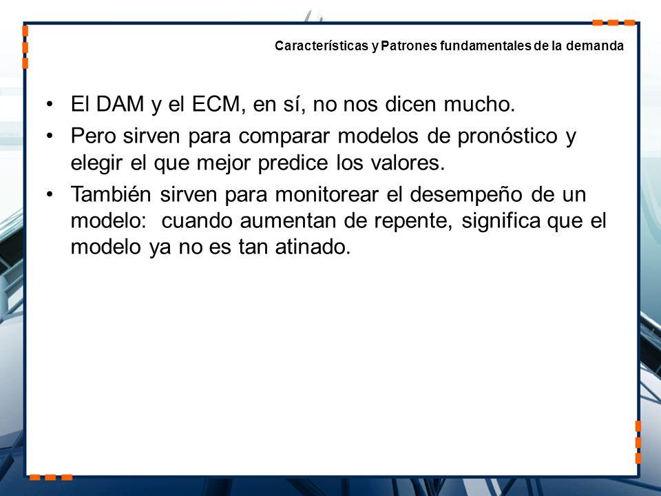 Otra medida es el Error Absoluto de Porcentaje (EAP) – útil cuando las magnitudes de las variables cambian (e.g., Precios en México, 1992-1997) Error absoluto de porcentaje medio (EAPM) Características y Patrones fundamentales de la demanda ERRORES EN PRONOSTICOS