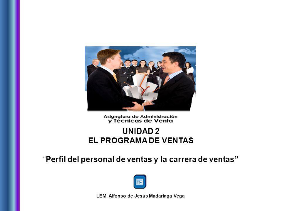 UNIDAD 2 EL PROGRAMA DE VENTAS Perfil del personal de ventas y la carrera de ventas LEM.