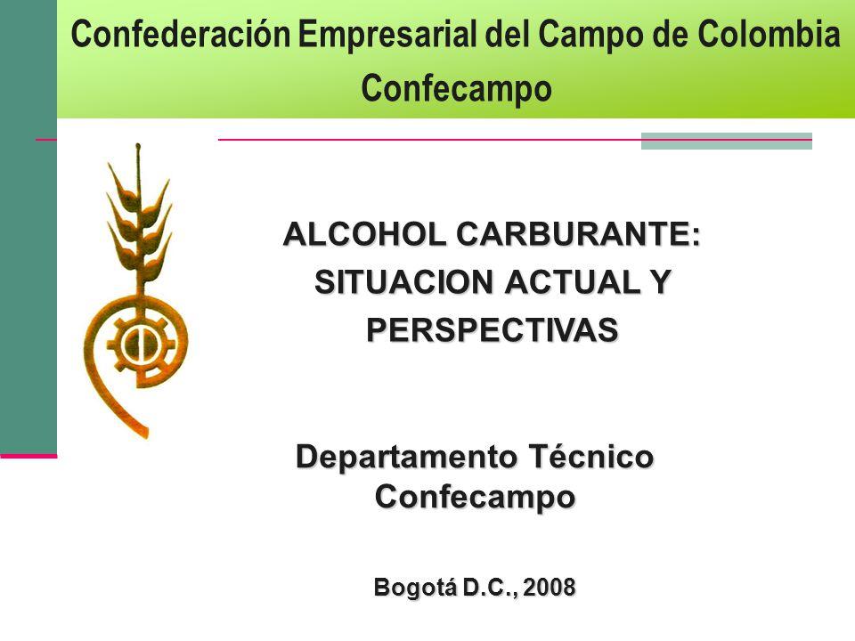 ALCOHOL CARBURANTE: SITUACION ACTUAL Y PERSPECTIVAS Departamento Técnico Confecampo Bogotá D.C., 2008 Confederación Empresarial del Campo de Colombia