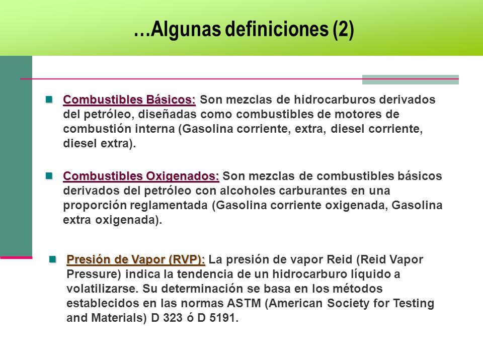…Algunas definiciones (2) Combustibles Básicos: Combustibles Básicos: Son mezclas de hidrocarburos derivados del petróleo, diseñadas como combustibles