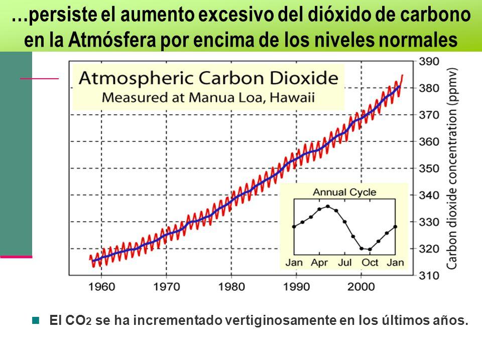 …persiste el aumento excesivo del dióxido de carbono en la Atmósfera por encima de los niveles normales El CO 2 se ha incrementado vertiginosamente en